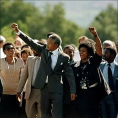 Nelson Mandela is finally released on 11 February 1990 - Walking out of prison with his wife Winnie Mandela