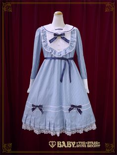 Baby, the stars shine bright Bless from Juno stripe sailor collar one piece dress