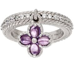 Judith Ripka Sterling Amethyst Quatrefoil Charm Ring