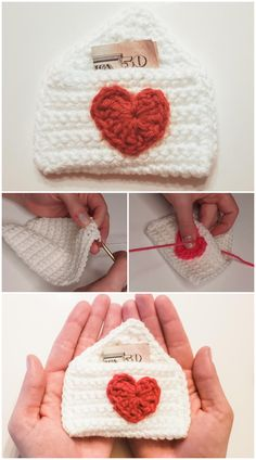 Crochet quick and easy Gift Card Holder Heart Pattern. It's the perfect thoughtful Crochet gift holder for your true love, best friend, family member, barista, or yourself. It is designed to fit a standard sized gift card, cash money, love letters, small candy, or jewelry. All Free Crochet, Crochet Ideas, Crochet Patterns, Cash Money, Heart Patterns, Crochet Gifts, Easy Gifts, Love Letters, Barista