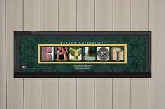 Personalized Baylor Bears College Letter Art Print Green College Letters, Baylor University, Letter Art, Caption, Slogan, Schools, Den, Wall Art Prints, Bears
