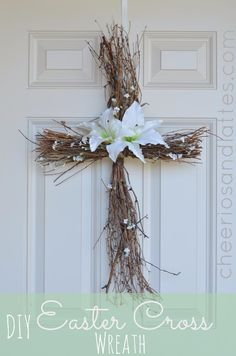 DIY Easter Decorations - Decor Ideas for the Home and Table - DIY Easter Cross Wreath - Cute Easter Wreaths, Cheap and Easy Dollar Store Crafts for Kids. Vintage and Rustic Centerpieces and Mantel Decorations. http://diyjoy.com/diy-easter-decorations