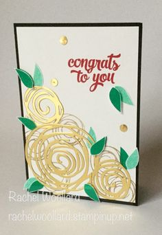 Stampin' Up! Swirly Bird, scribbles,  Gold Roses