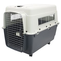 Plastic Kennels – Rolling Plastic Airline Approved Wire Door Travel Dog Crate, XX-Large