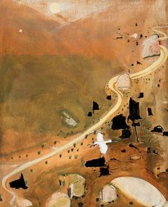 Brett Whiteley (Australian, The Valley at Dusk, Tempera and oil with applied stone and plaster on composition board, 102 x 83 cm. Abstract Landscape Painting, Landscape Art, Landscape Paintings, Abstract Art, Landscapes, Australian Painters, Australian Artists, Aboriginal Art, Nose Art