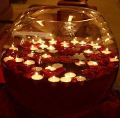 floating candle wedding centrepieces - for tables other than guest.