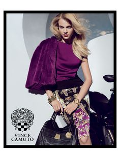 via Vince Camuto     #purple #fur #pencil #skirt #vince #camuto
