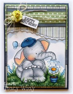 this elephant digi image stamp makes me smile every time I see it and the Green Envy Papers - Digital Papers makes the perfect paper to go with it.