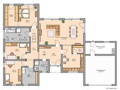 bungalow mit garage results - ImageSearch Bungalows, Atrium, Bauhaus, Interior And Exterior, House Plans, Sweet Home, Shed, Floor Plans, Home And Garden