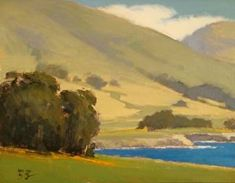 Meadow at Rocky Point by Brian Blood Oil ~ 11 x 14 Contemporary Landscape, Landscape Art, Landscape Paintings, Landscapes, Monterey Boats, Carmel Beach, Bae, Lake Painting, Rocky Point