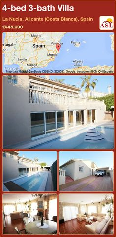 Villa for Sale in La Nucia, Alicante (Costa Blanca), Spain with 4 bedrooms, 3 bathrooms - A Spanish Life Alicante, Murcia, Outside Pool, Big Living Rooms, Big Kitchen, Maine House, Jacuzzi, 3, Guest Room