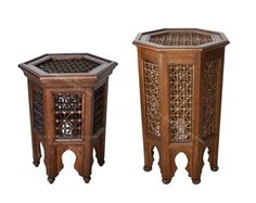 Wooden Moucharabieh Side Table from Badia Design Inc.