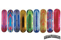 Every time Izzy of Tintaz Auto Art went into his local paint supply store the custom skateboard decks caught his eye, until one day when he decided to buy one and paint it with a unique lowrider-style as a gift for a friend. Custom Skateboard Decks, Custom Skateboards, Skateboard Design, Motorcycle Paint Jobs, Paint Supplies, Kustom Kulture, Airbrush Art, Paint Designs, Custom Paint