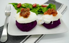 Our gorgeous, aromatic Purple Sweet Potato Cakes with Poached Egg are nothing short of spectacular! From the rich jewel-toned colors to the sweet and savory flavors, it's safe to say that your weekly menu just became a lot more interesting. Options are endless with this type of sweet potato, as you can make it sweet or savory depending on the seasonings, which means that these cakes will add a whole new dimension to your recipe collection. Thanks to the poached egg, this makes for the…