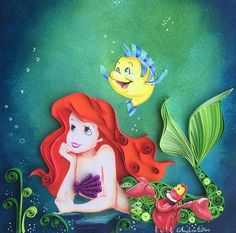 We all are fascinated by the mermaids and who on earth does not love the bright and beautiful Disney's mermaid 'Ariel'. We all love her red hair, big eyes and, not to forget, her cute friends. you can recreate her under water world with paper quilling. You can get a colored print from your computer and add the element of paper quilling in the picture.
