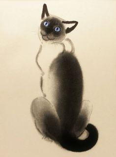 Vintage Mid Century Modern Print, Siamese Kitten, 1950s Clare Turlay Newberry. $21.00, via Etsy.