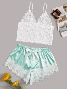 Product name: Floral Lace Bralette With Satin Shorts at SHEIN, Category: Sexy Lingerie Lace Lingerie Set, Sexy Lingerie, Lingerie Underwear, Ropa Interior Babydoll, Cute Sleepwear, Satin Shorts, Lingerie Outfits, Lingerie Collection, Lace Bodysuit