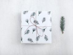 Geschenkpapier 4 x Zweige No. 3 / Papier, Weihnachtspapier, Einpacken, Geschenk, Weihnachten, Geschenkbögen