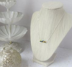 Black Iridescent Bead Necklace by InstinctBoutique on Etsy, $25.00