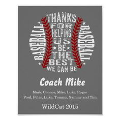 Baseball coach gift from the team poster