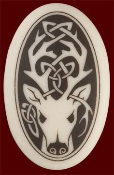 Celtic+Stag+Tattoo | Celtic Stag Pendent - Oval