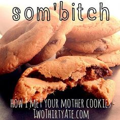 """How I Met Your Mother """"som'b"""" cookies- peanut butter chocolate chip caramel cookies! HIMYM."""
