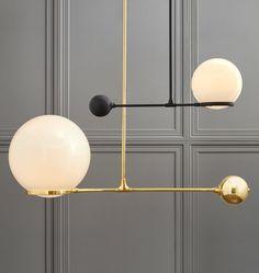 O&G Contrapesso LED Globe Pendant. O&G Contrapesso. LED light source. Asymmetrical lighting.