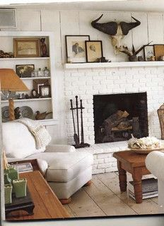 Rustic white living room fireplace mantel