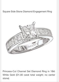The perfect engagement ring!! Princess cut solitaire with princess cut diamonds on the band!