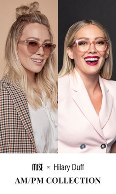 Introducing AM/PM by Hilary Duff. Limited-Edition Capsule Collection by Hilary Duff. Complete Your Holiday Look - Shop While It Lasts. Blonde Makeup, Hair Makeup, Makeup Eyes, Brown Blonde Hair, Dark Hair, Fashion Eye Glasses, Fashion Mask, Corte Y Color, Cute Glasses