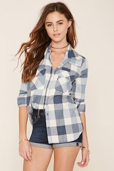 Snap Button Flannel Shirt for forever21 2000235989