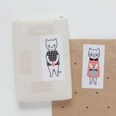 Lot de 12 stickers / 12 pack stickers Cat via Audrey Jeanne. Click on the image to see more!