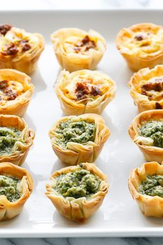 Pesto & Chorizo Mini Quiche Bites with Phyllo Crust - A perfect bite-sized brunch party recipe!