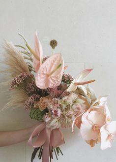modern bridal bouquet with anthuriums, blush bride proteas, phaleanopsis orchids and pampas grass in a very soft blush color palette Orchid Bouquet, Blush Bouquet, Hand Bouquet, Floral Bouquets, Purple Bouquets, Deco Floral, Arte Floral, Botanical Flowers, Bride Bouquets