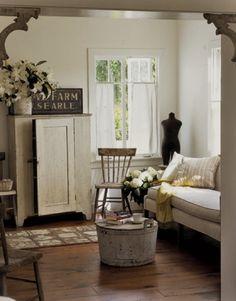 Simple white farmhouse living room Living Room Decoration Ideas 2012