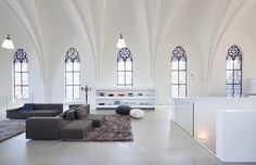 home was a Gothic church from 1870 in Utrecht that was turned into a minimal contemporary home in 2009 by Zecc Architects.