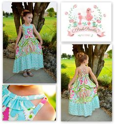 PDF sewing pattern  The Sophia Maxi Dress includes girls sizes 2, 3, 4,5,6,7,8/9,10, 11/12. It has a hi lo option for a shorter skirt in the front and a lower skirt in the back. If you are not a hi lo fan, you can keep the skirt at the regular maxi length. The bodice included a unique triangle feature and the straps can be tied into a halter or through a loop in the back bodice. Instructions are also included for one,two or three ruffles for the bodice. This dress requires ½ elastic...