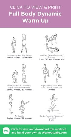 Full-Body Dynamic Warm Up · WorkoutLabs Fit - Full Body Dynamic Warm Up Workout Fitness Workouts, At Home Workouts, Circuit Workouts, Treadmill Workouts, Fitness Plan, Fitness Life, Fitness Motivation, Health Fitness, Gym Warm Up