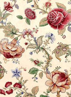 Montague Parchment - These colors and the print style looked promising.  I think this is called a Jacobean print.