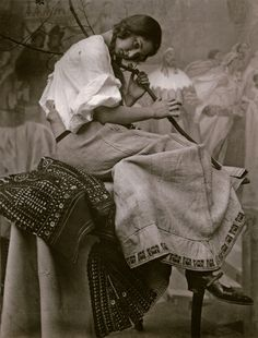 Mucha's daughter, Jaroslava, modelling for The Slav Epic: The Oath of Omladina Under the Slav Linden Tree, Zbiroh Castle, ca.1926. Studio photography by Alphonse Mucha