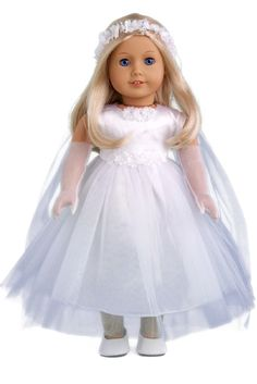 Little Angel - White satin and tule first communion dress with long gloves, veil and white shoes - 18 Inch Doll Clothes