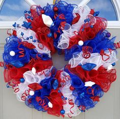 Items similar to Patriotic Dual Use Decor.Table Top Centerpiece, And/or Beautiful Sparkling Red, White, & Blue All American Independance of July! on Etsy Patriotic Wreath, 4th Of July Wreath, Patriotic Crafts, 4th Of July Decorations, Table Decorations, Table Centerpieces, Vintage Red Truck, Independance Day, Deco Mesh Ribbon