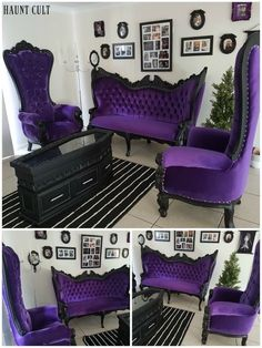 17 Trendy Home Sweet Hell Quotes Purple Furniture, Gothic Furniture, Funky Furniture, Home Decor Furniture, Gothic Room, Gothic House, Gothic Living Rooms, Victorian Gothic Decor, Medieval Gothic