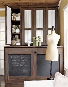 hidden laundry spaces - washer dryer in wood stain cupboard with chalkboard doors from Country Living via Atticmag Painted Furniture, Diy Furniture, Furniture Update, Hidden Laundry, Driven By Decor, Style Deco, Buffet, Washer And Dryer, Bauhaus