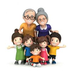 My happy parents with their grandchildren Family Clipart, Baby Clip Art, Face Expressions, Little My, Grandchildren, Sunday School, Learn English, Cartoon Characters, Art Lessons