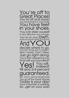 Large Dr Seuss Vinyl Wall Decal Quote 'You're Off To by InitialYou, $64.95