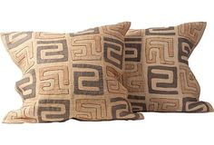 Kuba Pillow Beige | Tan Kuba Cloth Pillows, Pair on OneKingsLane.com