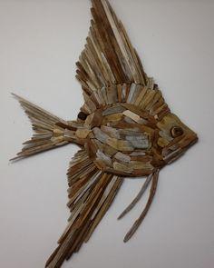 Driftwood Fish, Driftwood Wall Art, Driftwood Projects, Driftwood Sculpture, Sky Digital, Yellow Mugs, Diy Inspiration, White Cedar, Angel Fish