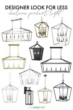 A huge collection of Darlana pendant light looks for less for all budgets! Includes all finish options, and alternatives for both indoors and outdoors! Also includes multiple shape alternatives like the linear pendant, wall lanterns, and hanging pendant lights.