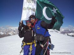 "Sameena Baig, first Pakistani woman mountaineer with her brother Mirza Ali hailing from Gilgit Pakistan successfully climbed the world's highest mountain "" MOUNT EVEREST on May 19, 2013 at 7:40 AM local time.  Sameena Baig become the first woman mountaineer, while Mirza Ali the third and youngest Pakistani male to have the honor of raising national green flag on the top of the world's highest peak."
